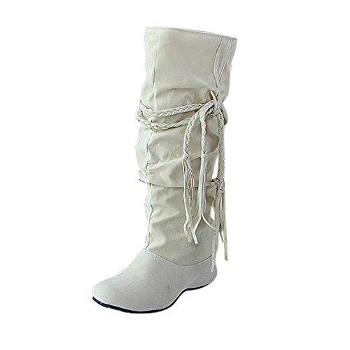 BHYDRY Schuhe Damen Mittlere Stiefel Erh?Hen Sie Die Oberschenkelh?He Tessals Stiefel Motorrad Quaste Elegant Schuhe(41 EU,Beige)