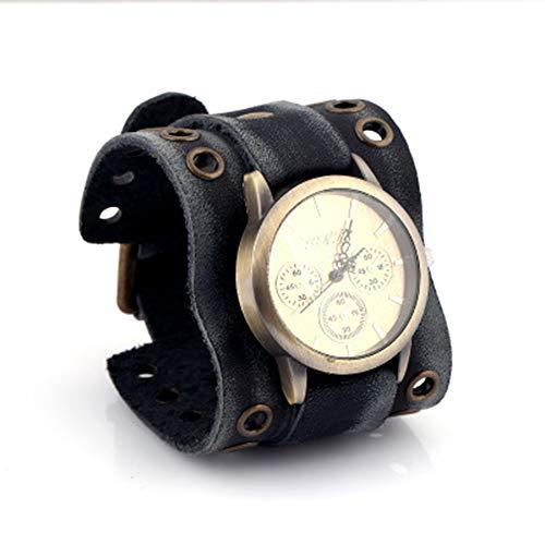 Maniny Reloj de Pulsera Punky Rock Grande Reloj Hip Hop para Hombre, Reloj de Cuero Negro, Reloj Deportivo Original Brazalete de Cuero Leather Bracelet Watch - B