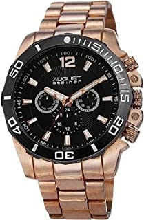 August Steiner Watch for Men with Metal Strap, AS8113RG, Analog