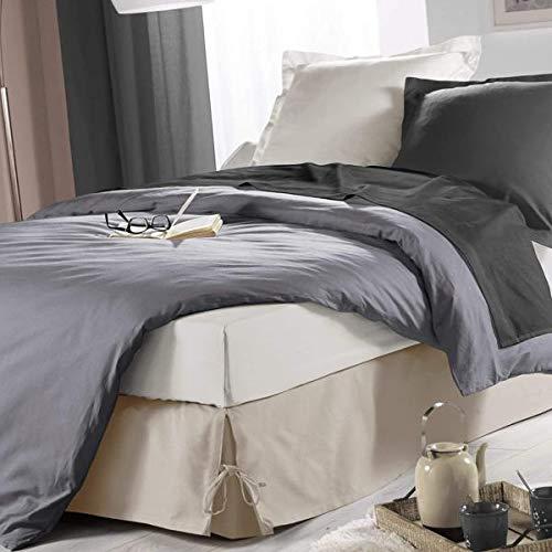 J&K Markets Bettvolant mit Bändern, 140 x 190 cm, Hellbraun, Polycotton, Hotelqualität