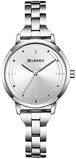 Curren 9019 Quartz Movement Round Dial Stainless Steel Strap Waterproof Women Wristwatch - Silver