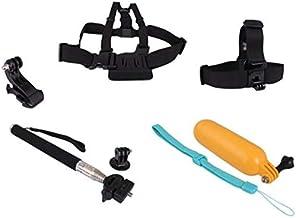 مجموعة كومبو 8 في 1 (حامل صدرية الصدر، حزام حزام، مونوبود، مشبك جيه-خطاف، فتحة عائمة، ملصق 3M، محول وحامل مسطح) لكاميرا جو برو هيرو 2، 3، 3+ بلس