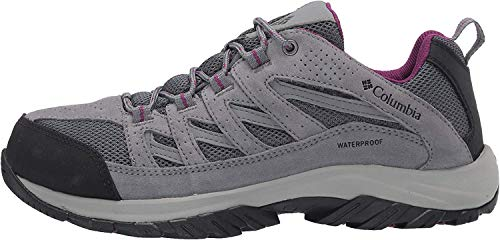 Columbia womens Crestwood Waterproof Boot Hiking Shoe, Graphite, Wild Iris, 9.5 US