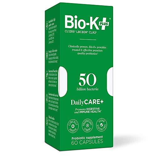 Bio-K+ Probiotic Supplement Capsule for Women & Men. 50 Billion Bacteria at Expiry Date. Delayed Release Capsule, Vegan & Gluten Free. 60 Capsules/Box.