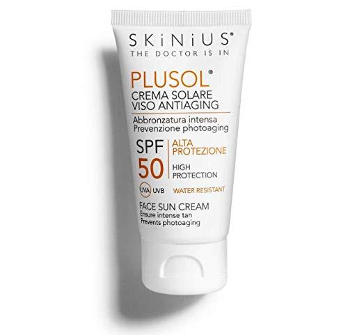 Skinius - PLUSOL Crema Solare Viso, Protezione Alta SPF50, Fresca e Delicata, Protegge e Nutre la Pelle, 50 ml