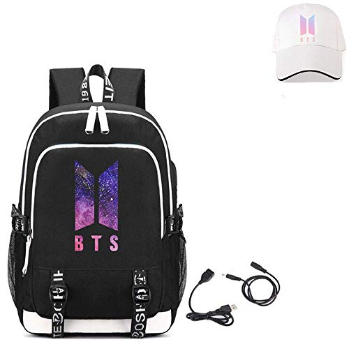 BTS Backpack, Student Schoolbags Laptop Backpack Travel Computer Bag for Boys Girls Kids Teenagers Bangtan Boys Fans Gift (A)