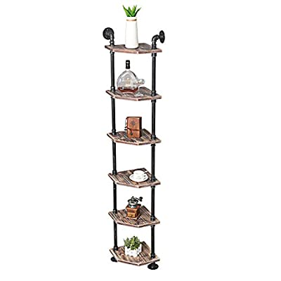 """MBQQ Industrial Pipe Shelves Modern/Rustic Corner Book Shelves with Real Wood,Corner 6-Tier Bookshelf Display Stand… - 【Retro Style】:Iron pipes and reclaimed real wood composition in vintage style.Storage and decorations. 【Size】:Height 70.8"""" Thickness 0.78'',Thickness of wood 0.78in. 【Multi-functional】:The home decor floating shelves are versatile, such as corner bathroom shelves,bookcase, Kitchen shelve. - living-room-furniture, living-room, bookcases-bookshelves - 41wEzSCAXIL. SS400  -"""