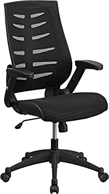 Emma + Oliver High Back Black Mesh Swivel Ergonomic Office Chair with Adjustable Flip-Up
