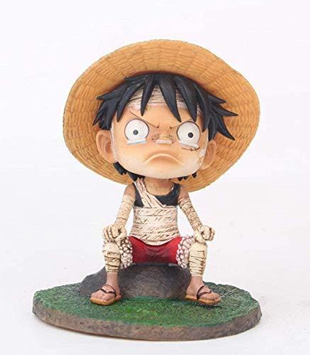 ZJZNB One Piece Q Version Sitzen Angry Bandage Ruffy Anime Figur Modell Spielzeug Figuren Animation Statue Dekoration