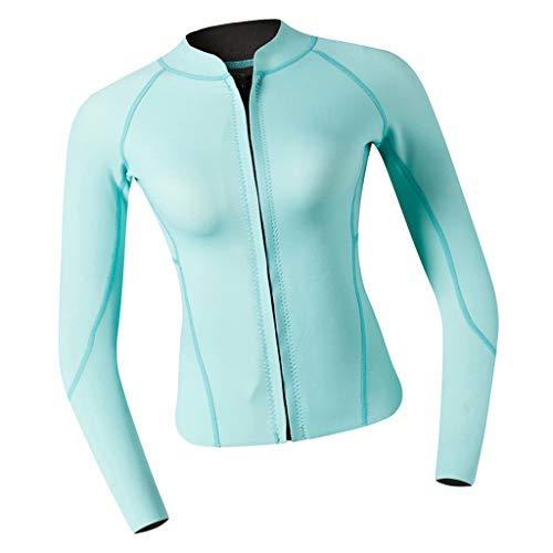 P Prettyia 2MM Neopren Damen Langarm Neoprenanzug Jacke Sonnenschutz Tauchanzug Surf Suit Schwimmanzug für Frauen - Blaugrün, L