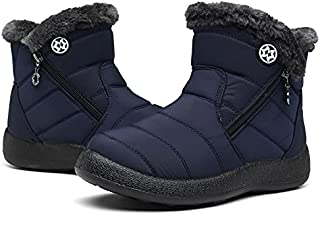 Eagsouni Snow Boots Womens Winter Ankle Boots Ladies Warm Fur Lined Booties Thickening Shoes Zip flat Sneakers Outdoor Boo...
