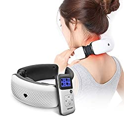 MEISHENG Cervical Massager, Hot Moxibustion Neck Shoulder Meridian Vibration Massage Heating Physiotherapy Instrument with Wireless Remote Contro