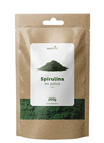 Espirulina ecológica en polvo 200gr Carefood 100% Orgánica   Alga Spirulina Platensis Apta para veganos   Superalimento Ecológico