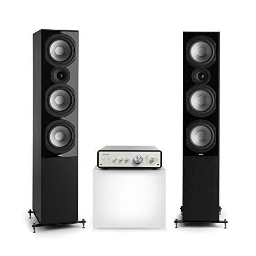NUMAN Drive 801 Stereo-Set,2 Standlautsprecher & HiFi Verstärker Digital,Retro,Verstärker Ausgangsleistung: 2 x 170 W / 4 x 85 W RMS,5 x Linein / 1 x Plattenspieler-Anschluss,Schwarz/Schwarz