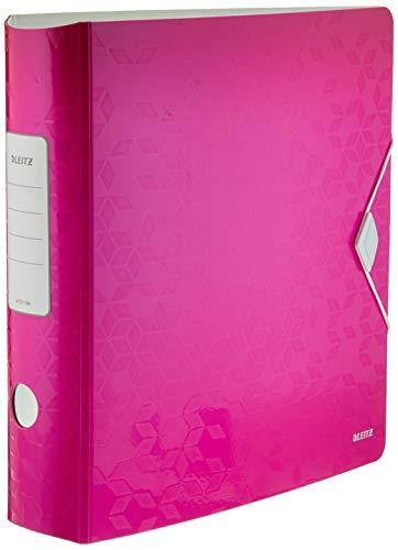 Leitz 11060023 Multifunktions-Ordner (A4, Runder Rücken 8,2 cm Breite, Gummibandverschluss, Kunststoff, WOW) pink metallic