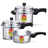 FAMILIA FAL235 Induction Base Aluminium Family Pressure Cooker Combo with Outer Lid (2, 3, 5 L, Silver)