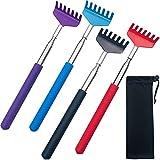 4Pcs Portable Extendable Back Scratcher,Telescoping Back Scratcher for Women,Metal Stainless Massager Backscratchers for Men with Rubber Handle,Scratcher Black Bag Useful Gifts,Red Blue Purple Black