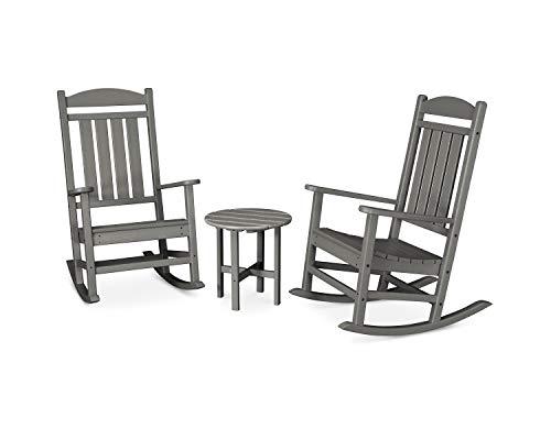 POLYWOOD PWS109-1-GY Presidential 3-Piece Rocker Rocking Chair Set, Slate Grey