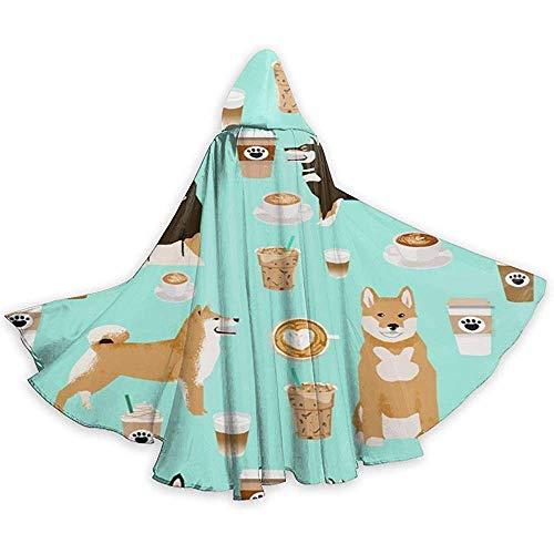 Shiba Inu Coffee Print Hund und Kaffee Erwachsenen Tunika Hooded Knight Halloween Mantel Robe Kostüm Weihnachten, 59 Zoll (150,40 cm)
