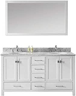 Virtu USA Caroline Avenue 60 inch Double Sink Bathroom Vanity Set in White w/Round Undermount Sink, Italian Carrara White Marble Countertop, No Faucet, 1 Mirror - GD-50060-WMRO-WH