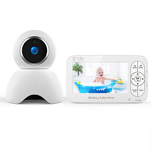 Vigilabebés con Cámara, BOIFUN Bebé Monitor Inalambrico Inteligente con Pantalla LCD HD de 5', Acercarse, Cámara Gira Automáticamente, Visión Nocturna, Modo de Dormir, Comunicación Bidireccional