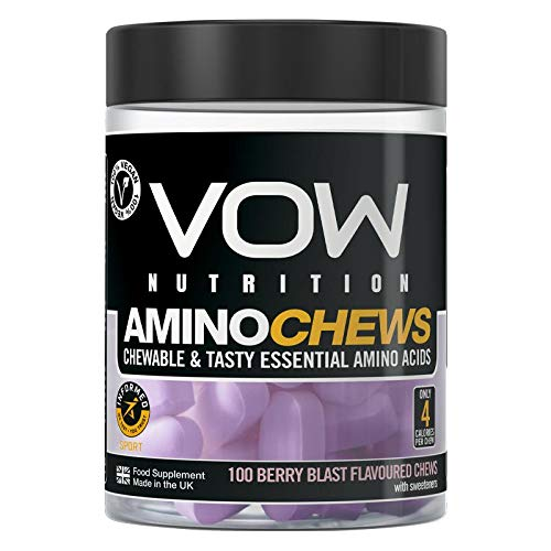 Vow Amino Chews, Chewable and Tasty Essential Amino Acids, BCAA, EAA Complex, L-Leucine, L-Lysine, L-Valine, L-Isoleucine, Vegan, Informed Sport Approved (Berry Blast)