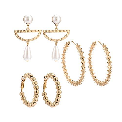 Ruby569y Pendientes colgantes para mujer y niña, 3 pares de pendientes de perlas de imitación semicírculo, pendientes de aro y joyería regalo