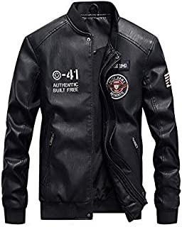 Men's Stand-up collar leather jacket fashion PU coat motorcycle jacket- L