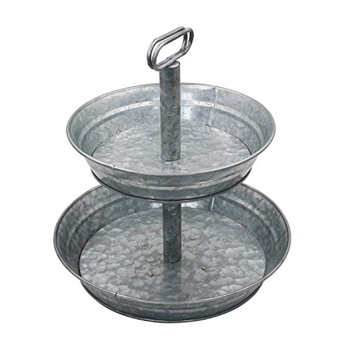 4W Tiered Serving Tray, Galvanized Tiered Tray 2 Tiered Serving Stand, Rustic Metal Tray for Cupcake, Dessert, Fruit, Perfect for Party, for Indoor or Outdoor Use, for Home Décor