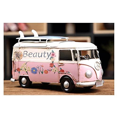 LUYIYI Modèle de Voiture de Bus de Surf, décoration de boîte de tiroir de Voiture américaine, Artisanat de Table de Fer forgé, 30x17cm (Color : Pink)