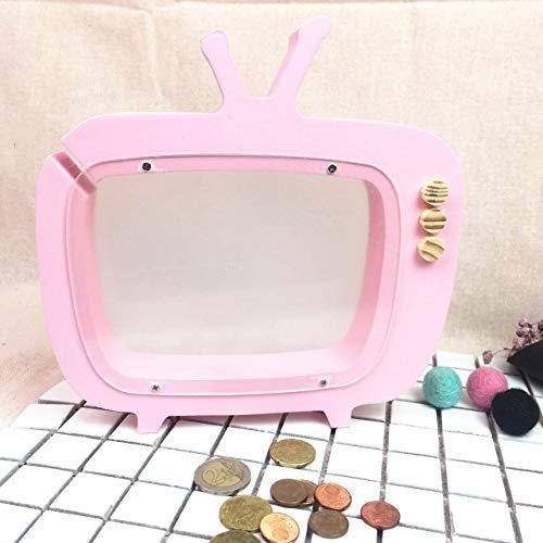 VSander Holz TV Styling Sparschwein Transparent Hohlen Hause Wohnzimmer Schlafzimmer Kreative Handwerk Ornamente Kinder Geschenk Fotografie Requisiten (Color : Pink)