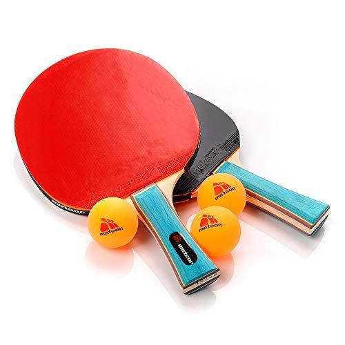 Pala Tenis de Mesa Table Tennis Set 2 Raquetas 3 Pelotas de Ping-Pong Ideal para Principiantes y avanzados Tenis de Mesa para niños y Adultos - Ping Pong para Entrenamiento y Partidos (1 Estrella)