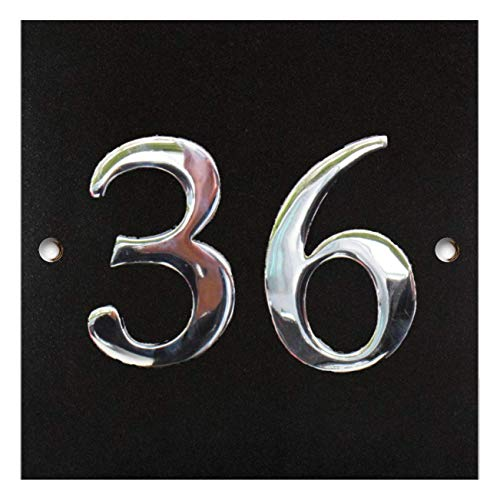 Large Black Granite & Chrome House Number Plaque - 1 to 99 Availabl