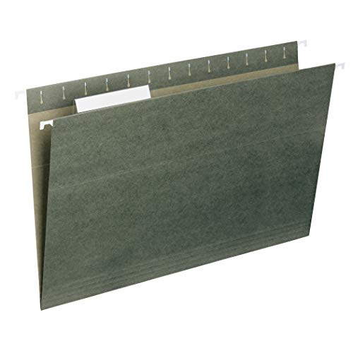 Smead Hanging File Folder with Tab, 1/3-Cut Adjustable Tab, Legal Size, Standard Green, 25 per Box (64135)