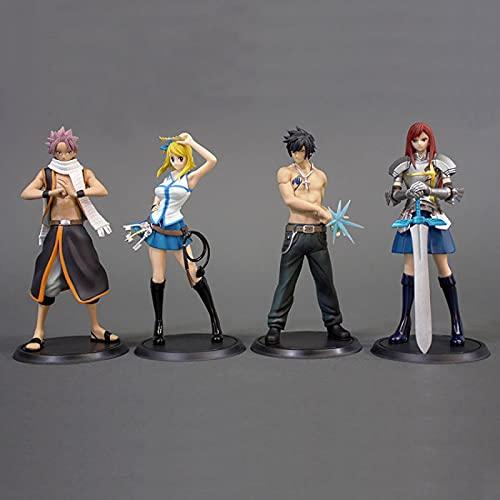 4 Pezzi Anime Fairy Tail Action Figure Giocattoli Lucy Elza Natsu Pvc Modello Da Collezione Ornamenti Regali 13 Cm