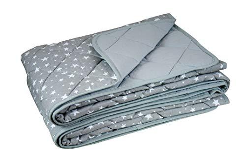 youngDECO beidseitige Tagesdecke 140x200 für Kinderbett, Zwei Tagedecken in Einer: Pastel grau und Sterne auf grau, Dicker und Flauschiger bettüberwurf, Baumwolle