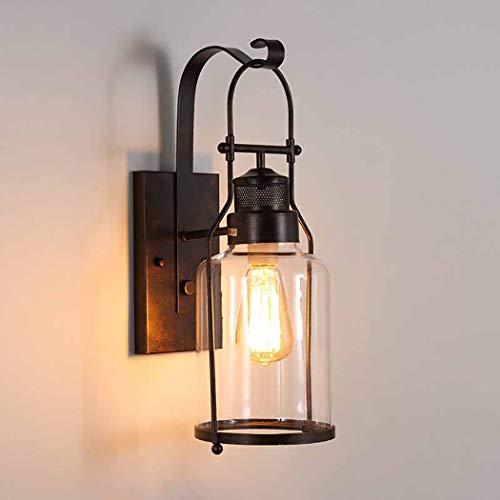 ZIXUAL lámpara de paredAmericano Retro Lámpara de Pared de Hierro Forjado Diseñador Pasillo Salón Iluminación de Pared Simple Creativo Vidrio Balcón Lámpara de Pared