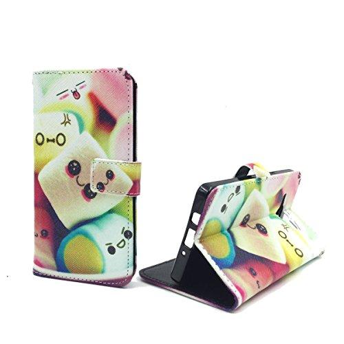 König Design Handyhülle Kompatibel mit Samsung Galaxy A5 (2015) Handytasche Schutzhülle Tasche Flip Hülle mit Kreditkartenfächern - Marshmallows
