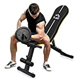 Yueetc Workout Bench, Heavy Duty Stands 400LBS Weight Bench Adjustable Double Enhanced Backrest/Seat for Home Gym Strength Dumbbell Training Utility Bench Full Body Workout Press Bench - Black