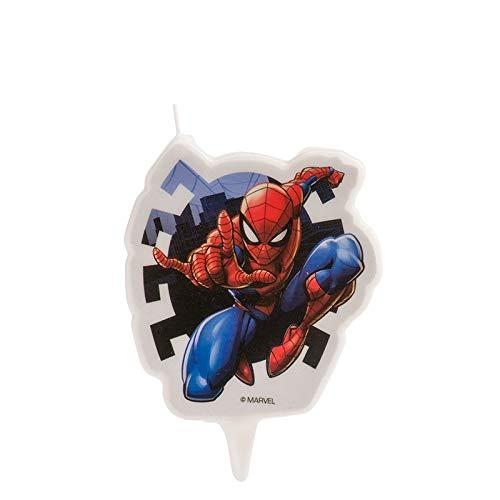 CANDELA in cera SPIDER MAN - candeline PIATTA per decorare Decorazione Torta o Dolci del cartone animato dell'uomo ragno - per feste di compleanno, ecc.