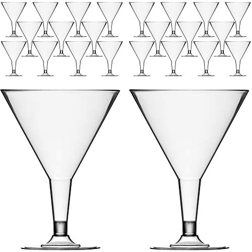 DecorRack 24 Martini Cocktail Glasses, Plastic Party Champagne Cups, Perfect for Outdoor Parties, Weddings, Picnics, Stackable Stemmed, Reusable, Disposable Glasses (Pack of 24)
