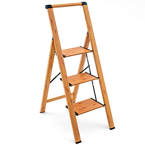 Tatkraft Up 3 Step Ladder, Foldable Kitchen Step with Safety Handrail and Wide Anti-Slip Steps, Holds up to 150 kgs, Made of Lightweight Aluminum with Woodgrain Coating, Oak Wood Scandinavian Style