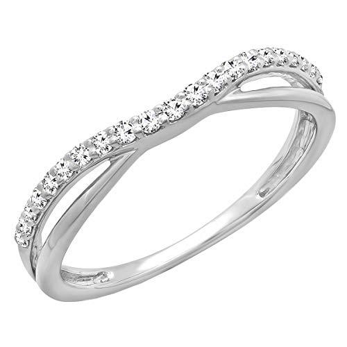 Dazzlingrock Collection 0.25 Carat (ctw) Round Lab Grown Diamond Ladies Wedding Guard Contour Band 1/4 CT, Sterling Silver, Size 7