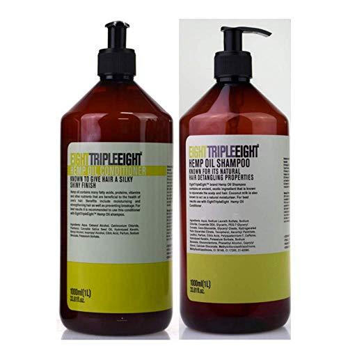 Eight Triple Eight Hanföl Shampoo und Conditioner Set – Pumpspender 1 Liter Flaschen