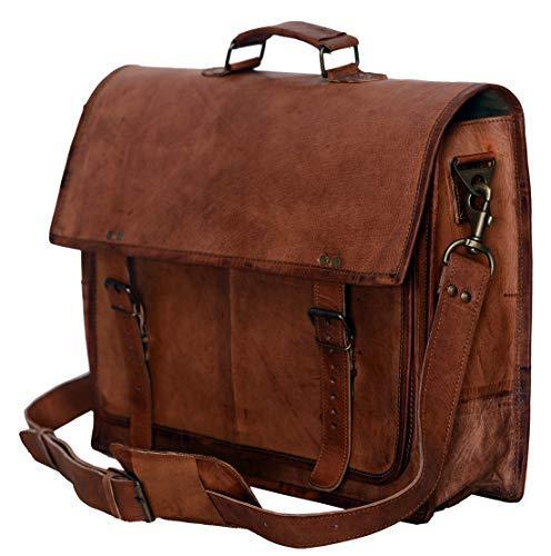 PL 18 Inch Vintage Handmade Leather Messenger Bag