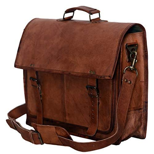 PL 18 Inch Vintage Handmade Leather Messenger Bag for Laptop Briefcase  Satchel Bag caedc912328