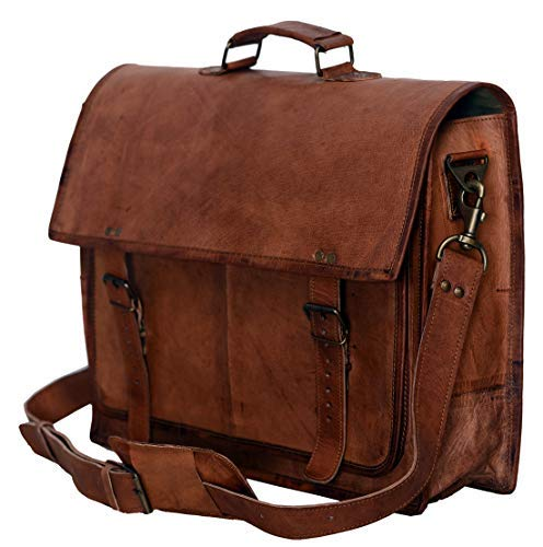 PL 18 Inch Vintage Handmade Leather Messenger Bag for Laptop Briefcase Satchel Bag