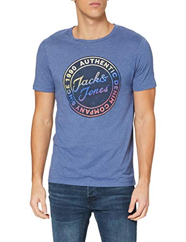 Jack & Jones JJGRAND tee SS Crew Neck Camiseta, Azul Vaq