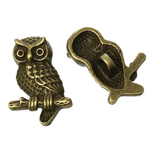 PXNH Zink Metalllegierung Schaftknopf Metallknöpfe Eule Antik Bronze Einloch für Kleidung DIY 22x15mm, 2 STK
