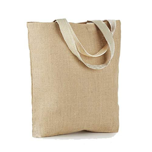 Promotional Jute Tote Bags Wholesale Burlap Bags for Giveaways, Trade Shows, DIY, Art & Crafts, Wedding Decorations, Party Favors by TBF Bags (Set of 12, Natural)